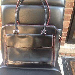 Lodis black leather computer bag